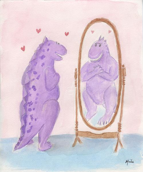Hobji sends love to self in mirror.